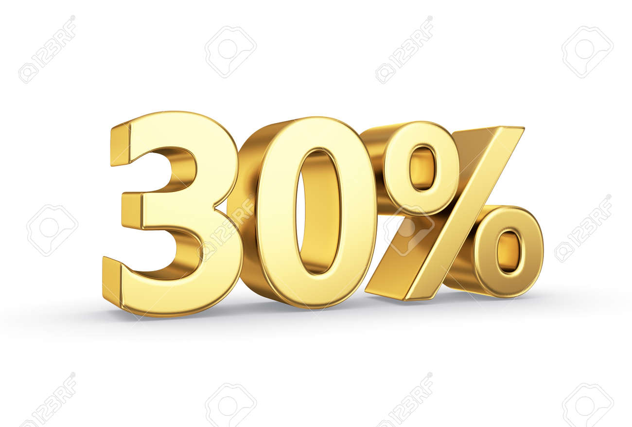 golden 3D percentage icon - isolated with clipping path - 20352874