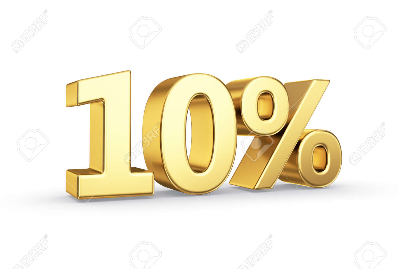 golden 3D percentage icon - isolated with clipping path - 21092438