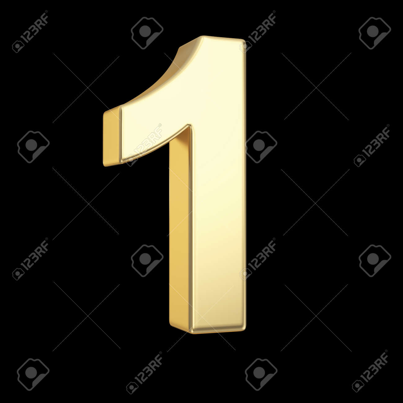Number one - golden number isolated on black with clipping path - 21092440