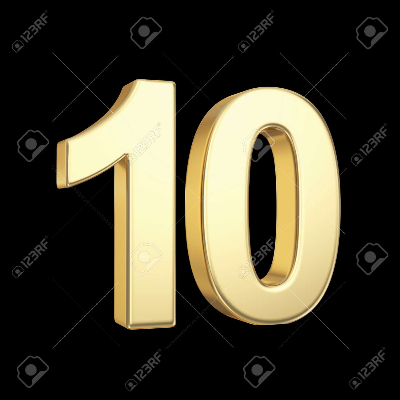 Number ten - golden number isolated on black with clipping path - 21092450