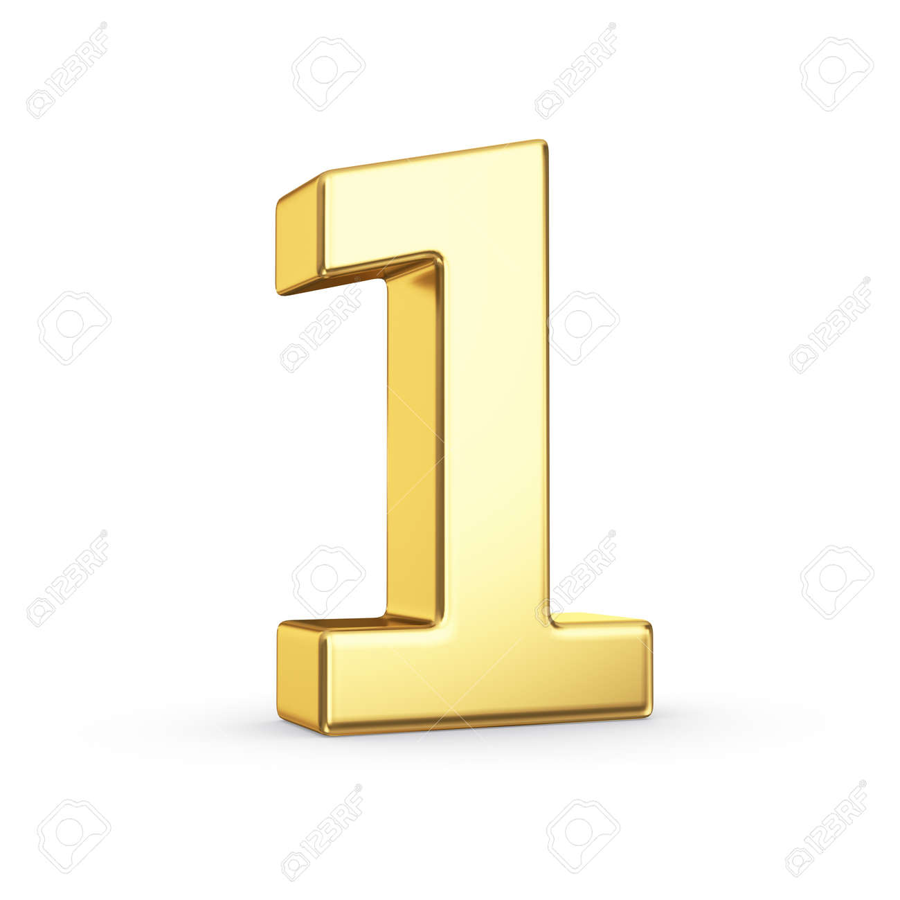 3D golden number 1 - isolated with clipping path Stock Photo - 21092464