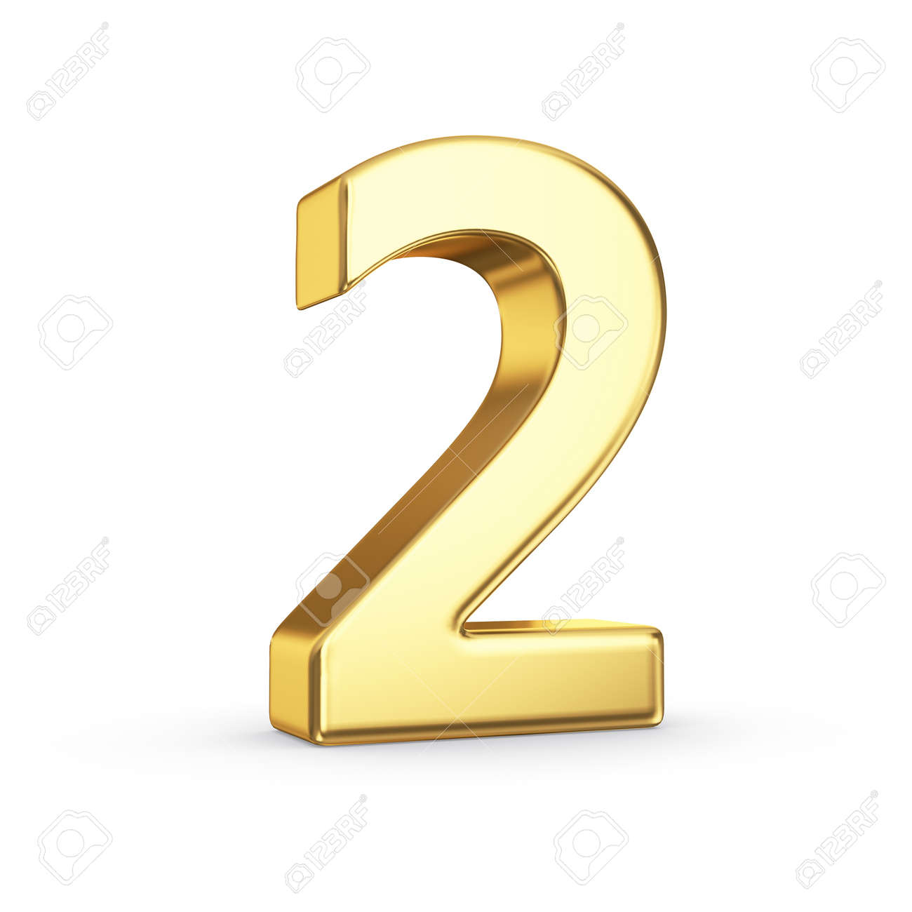 3D golden number 2 - isolated with clipping path Stock Photo - 21092465