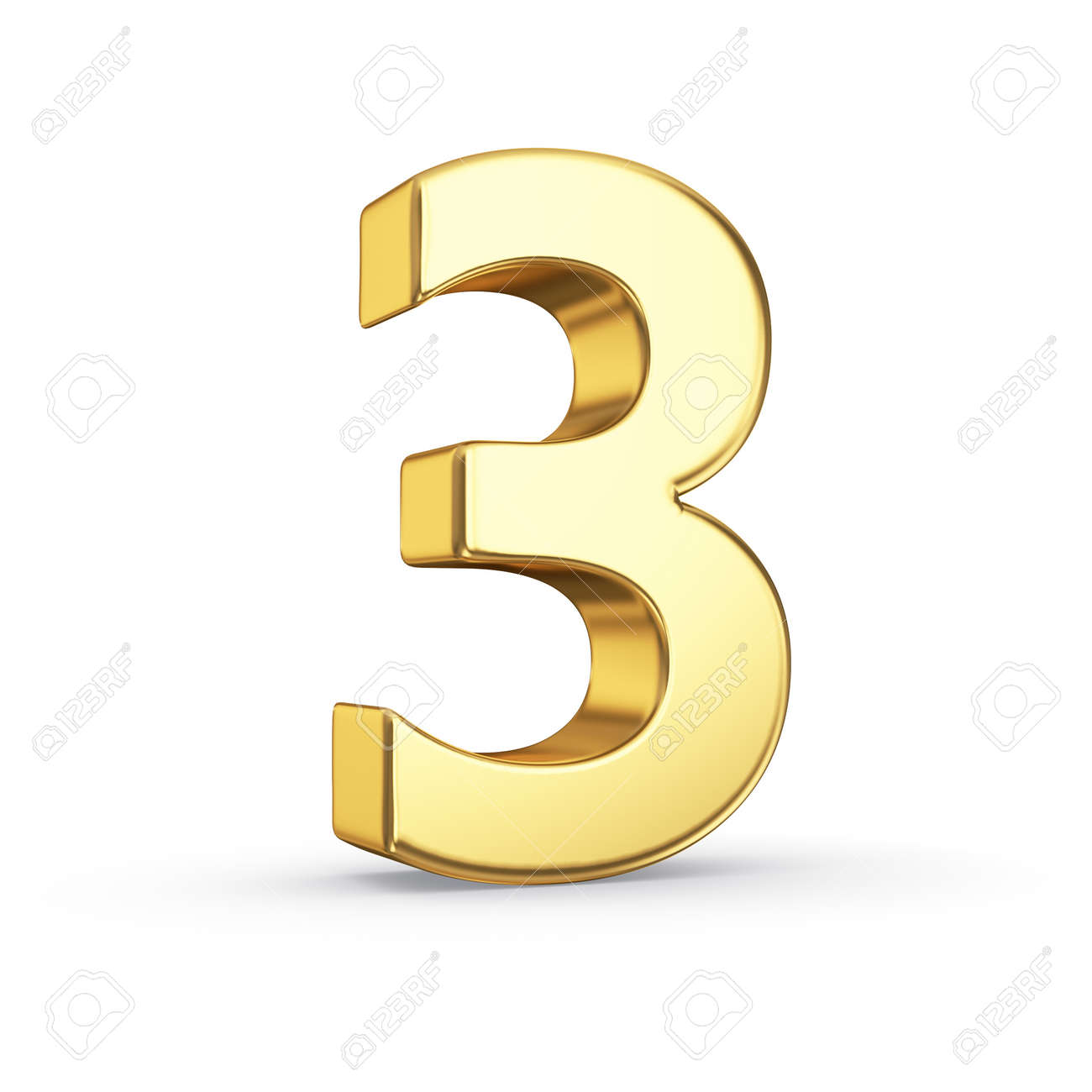 3D golden number 3 - isolated with clipping path - 21092466