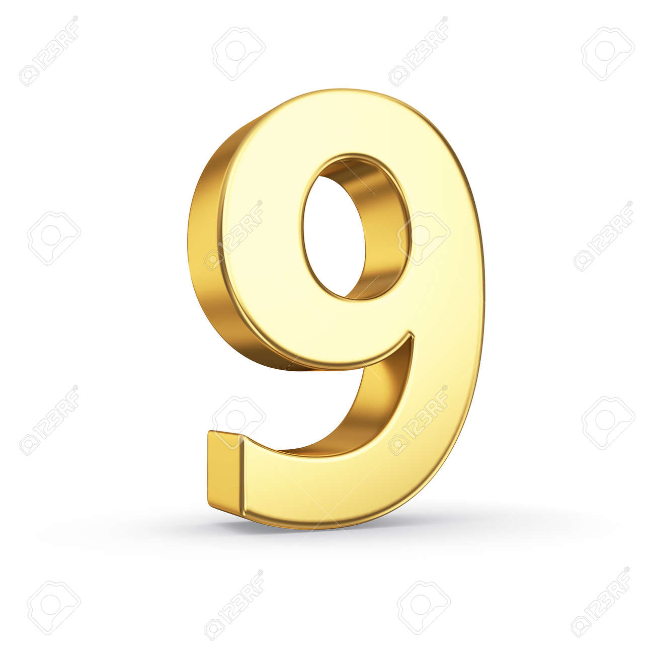 3D golden number 9 - isolated with clipping path Stock Photo - 21092472