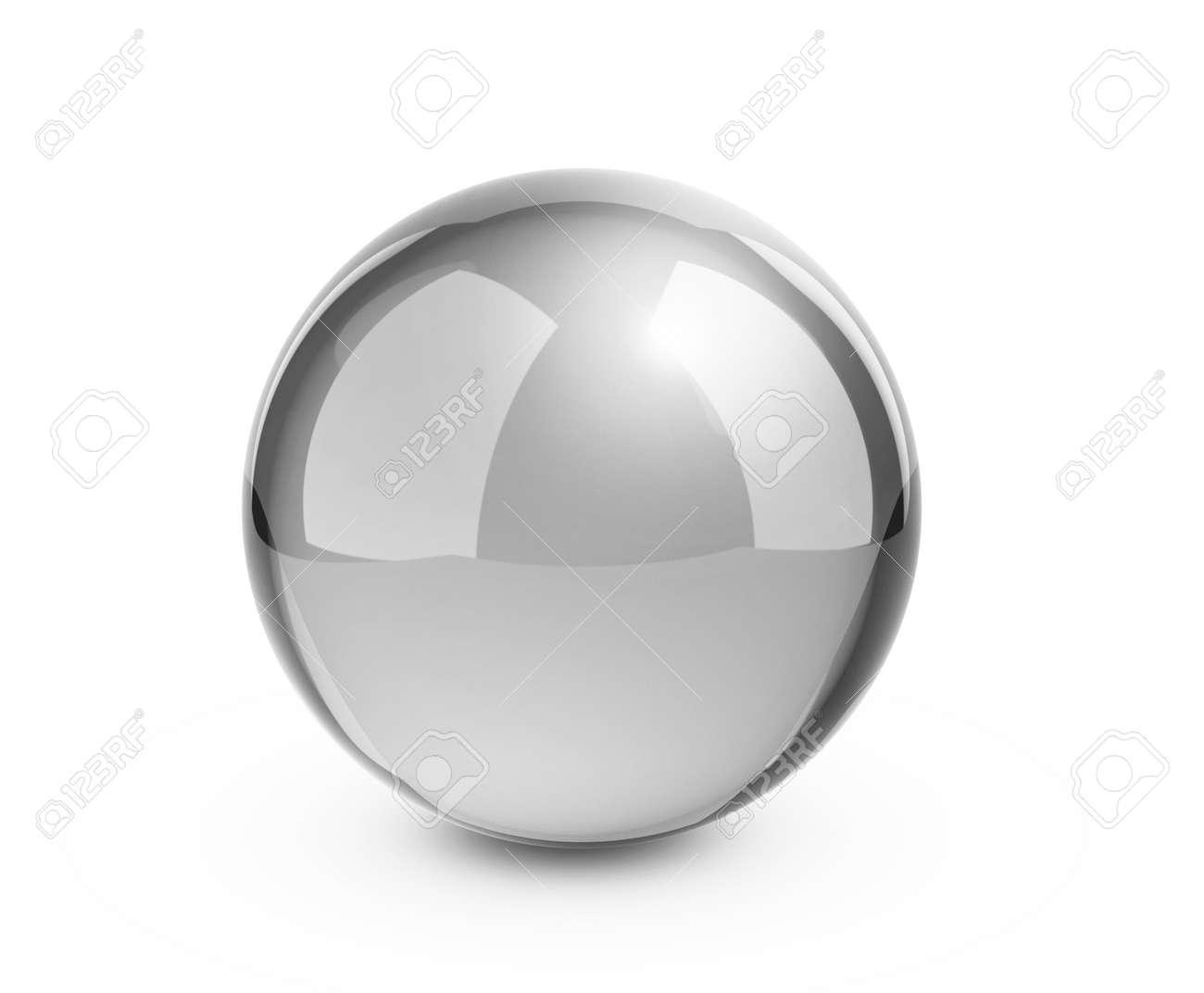 Metal sphere render on white - 25588793