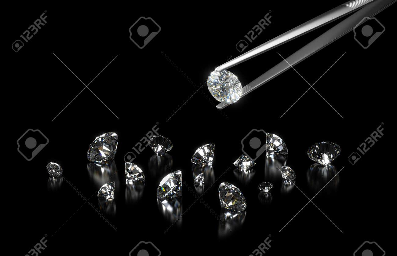Luxury diamond in tweezers closeup with dark background - 45136331