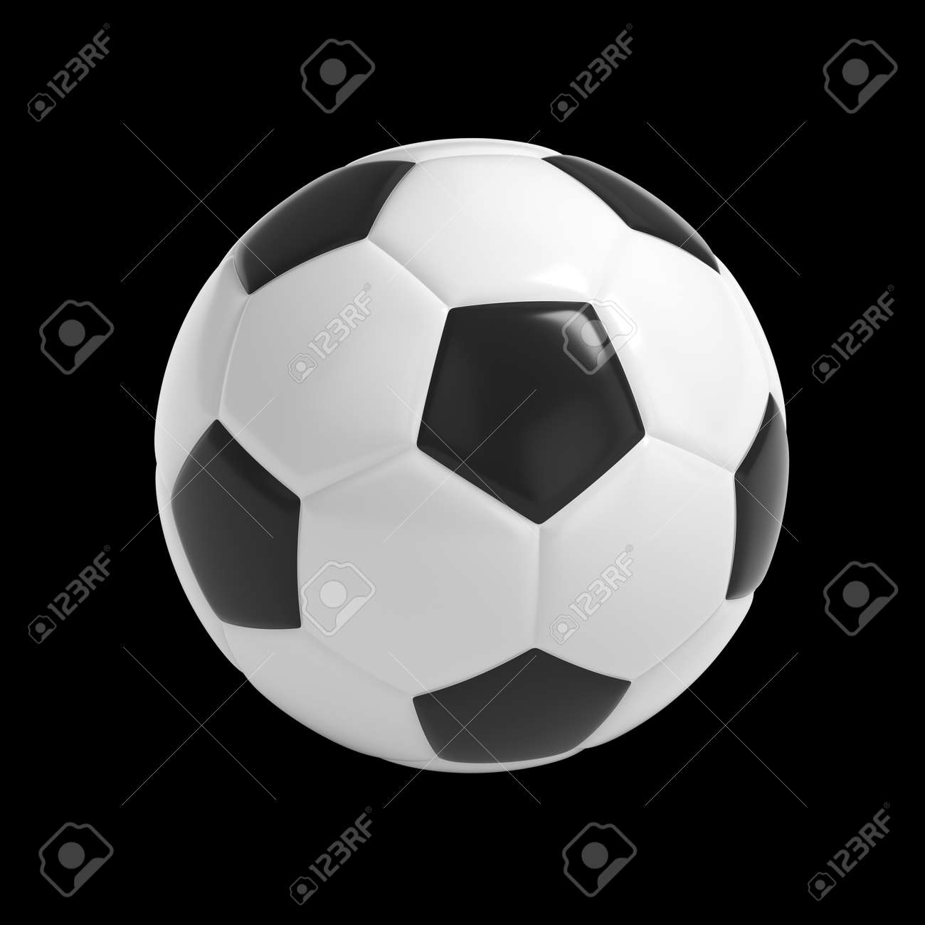 Football - Soccer ball HQ 3D render isolated with clipping path on black - 45142043
