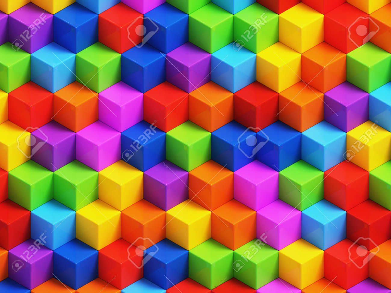 カラフルな 3 D の幾何学的なボ...