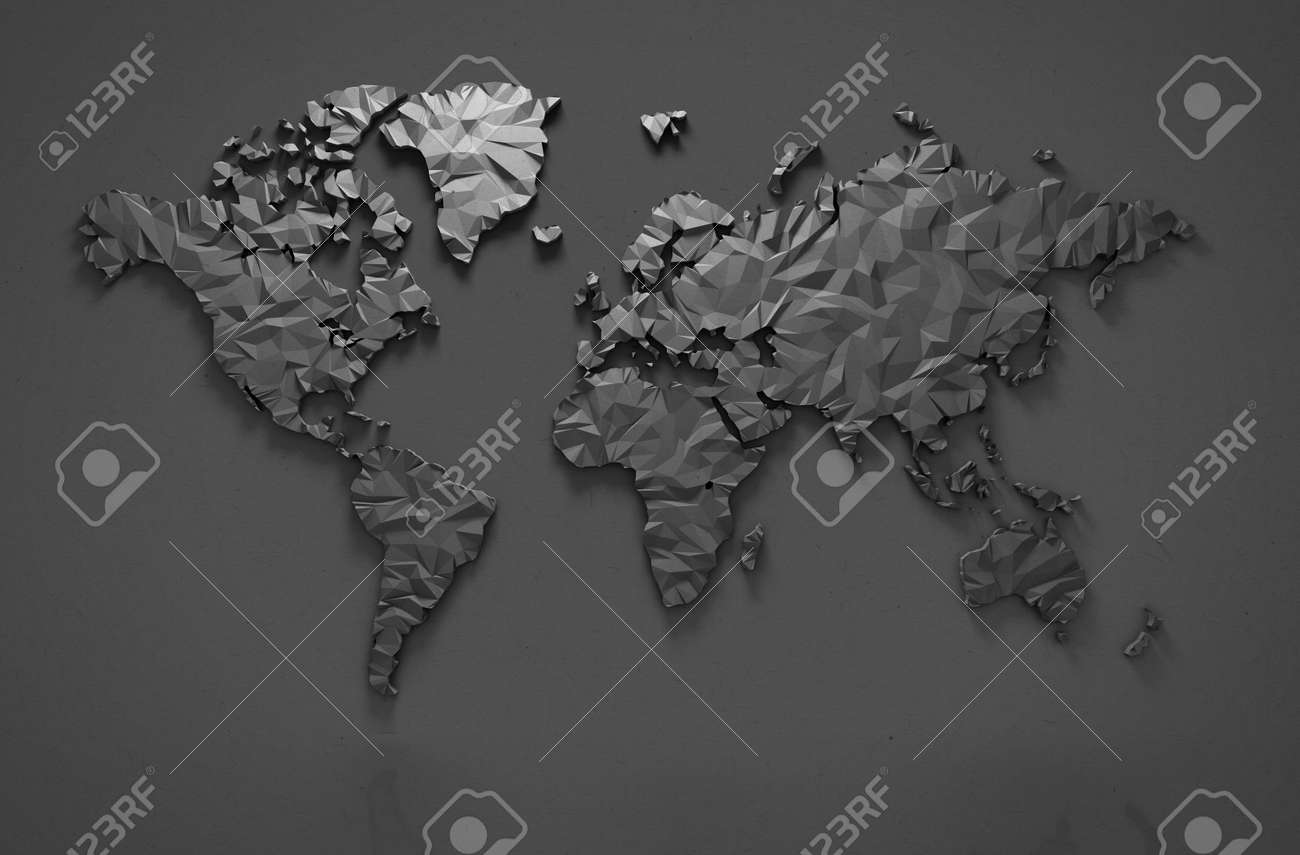 Origami 3D world map isolated with clipping path - 45235875