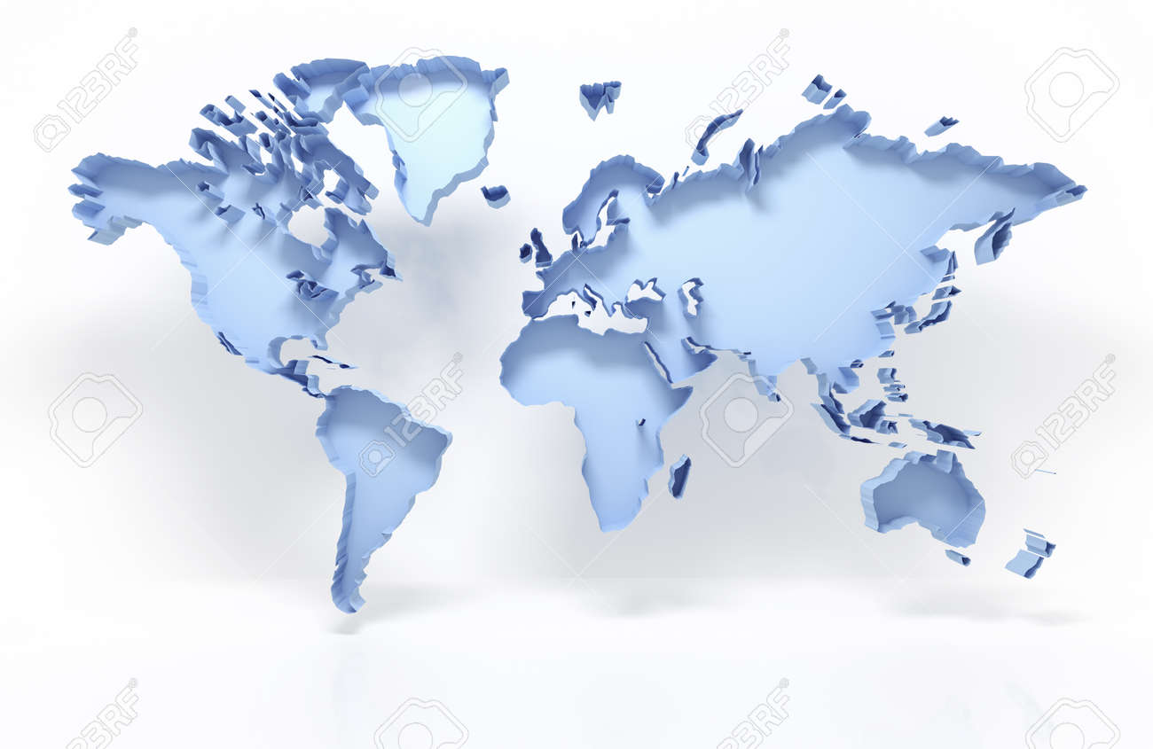 3d World Map Isolated On White With Clipping Path Stock Photo
