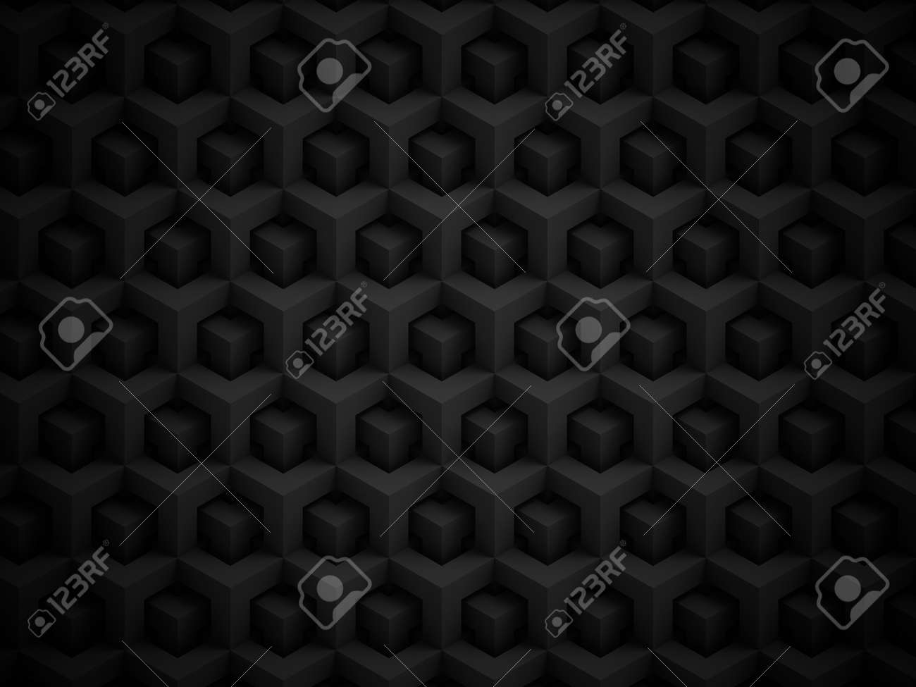 Abstract black polygonal 3D pattern - geometric box structure background - 45148577