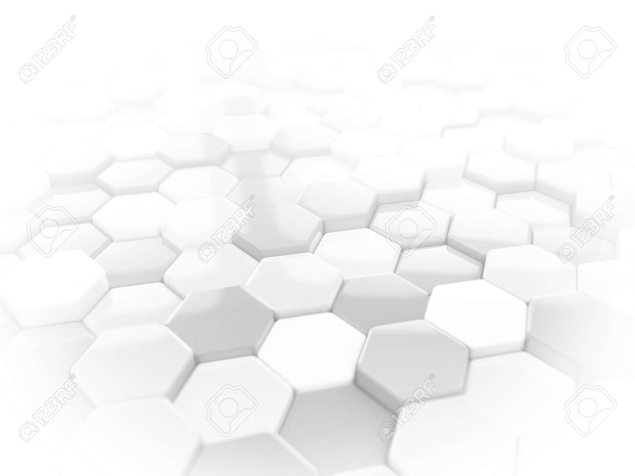 Abstract white 3D render hexagonal geometric structure background - 45148583
