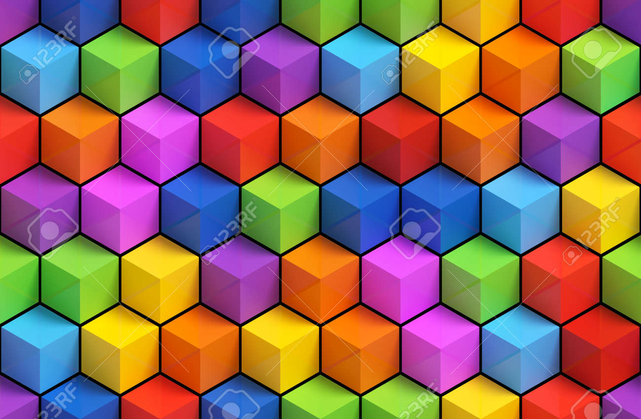 Colorfull 3D geometric boxes background - vibrance cubes seamless pattern - 45148588