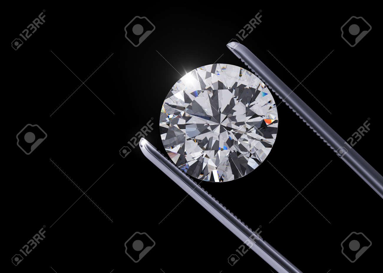 Luxury diamond in tweezers closeup with dark background - 45148676