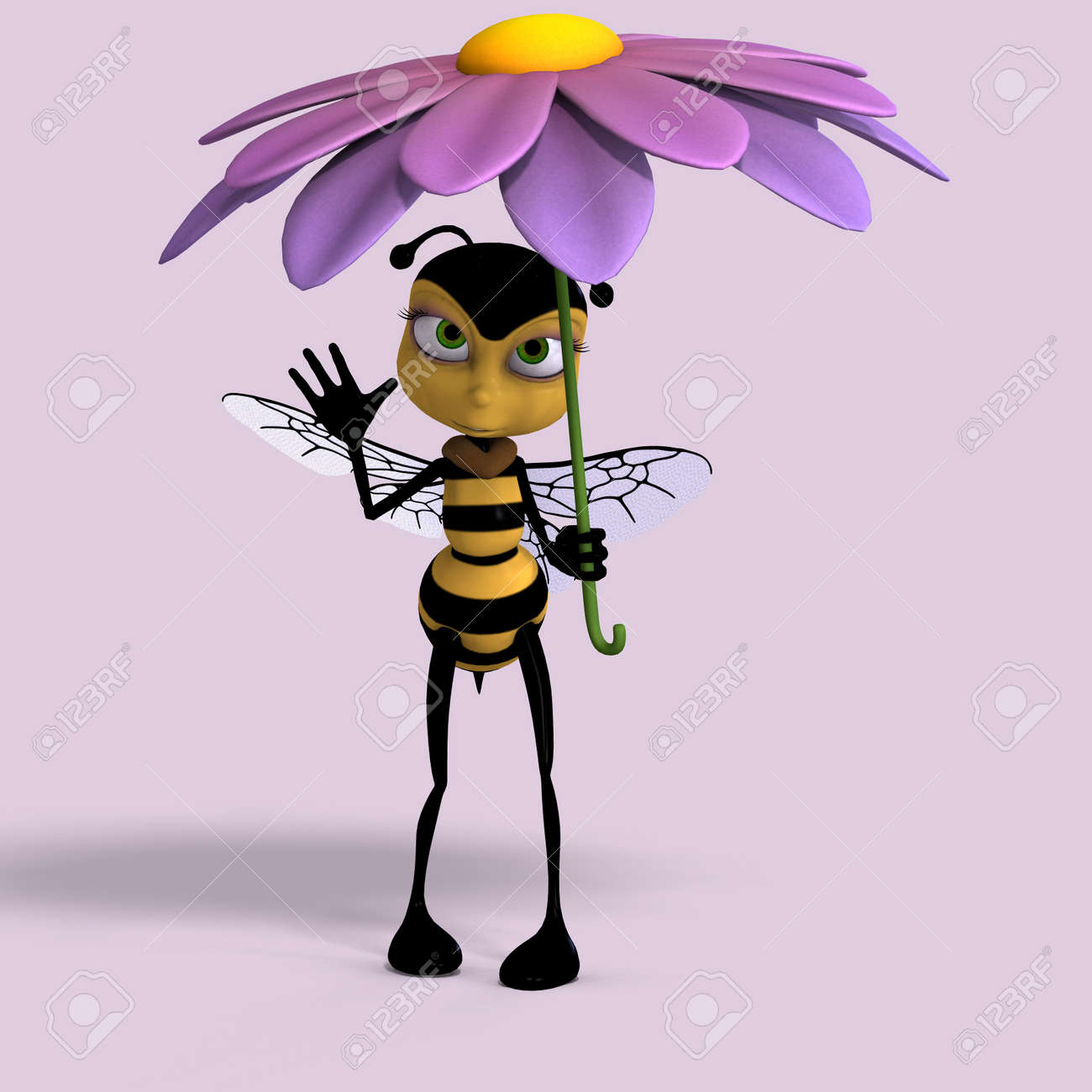 very sweet render of a honey bee in yellow and black with Clipping Stock Photo - 5006780