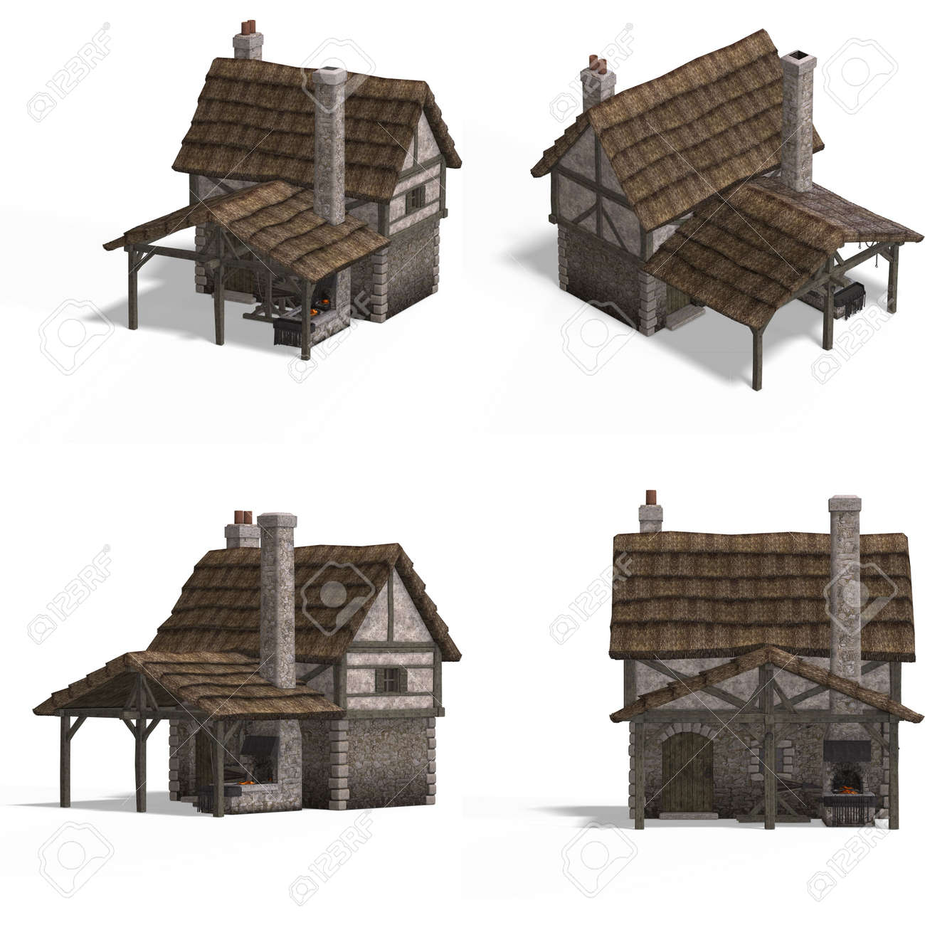four views of an old fashioned house over white stock photo