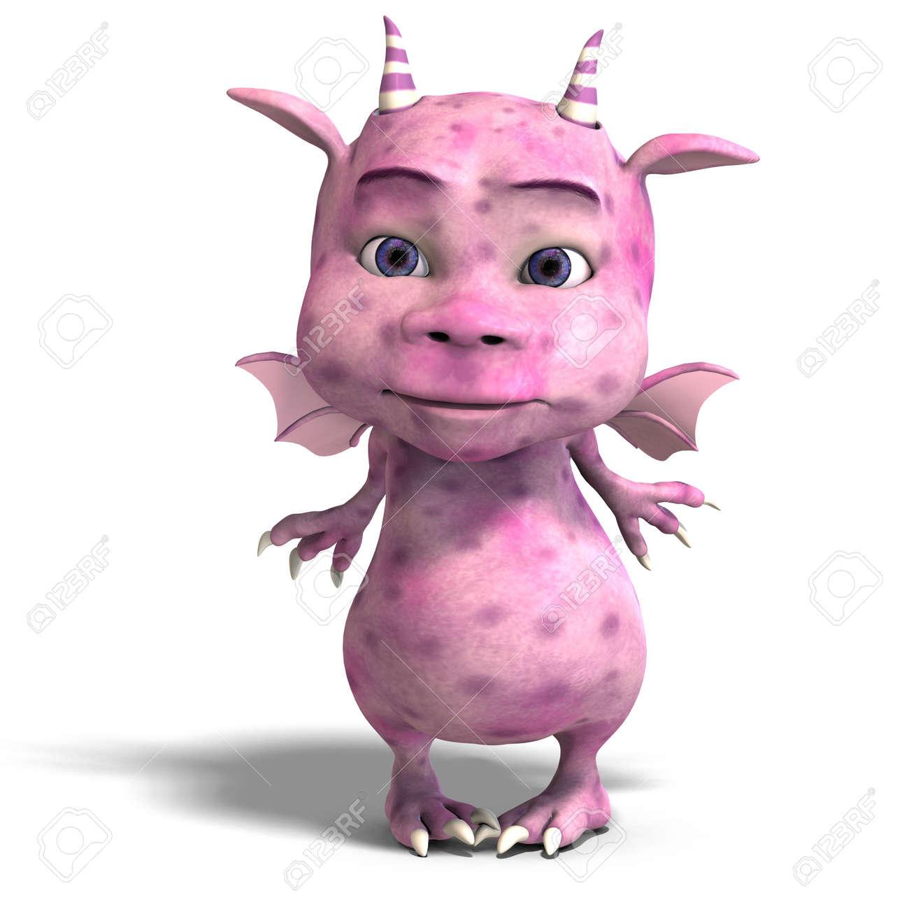 Banque d'images - Rendu 3D d'un peu plus <b>rose mignon</b> toon dragon diable - 5573821-Rendu-3D-d-un-peu-plus-rose-mignon-toon-dragon-diable-Banque-d%27images
