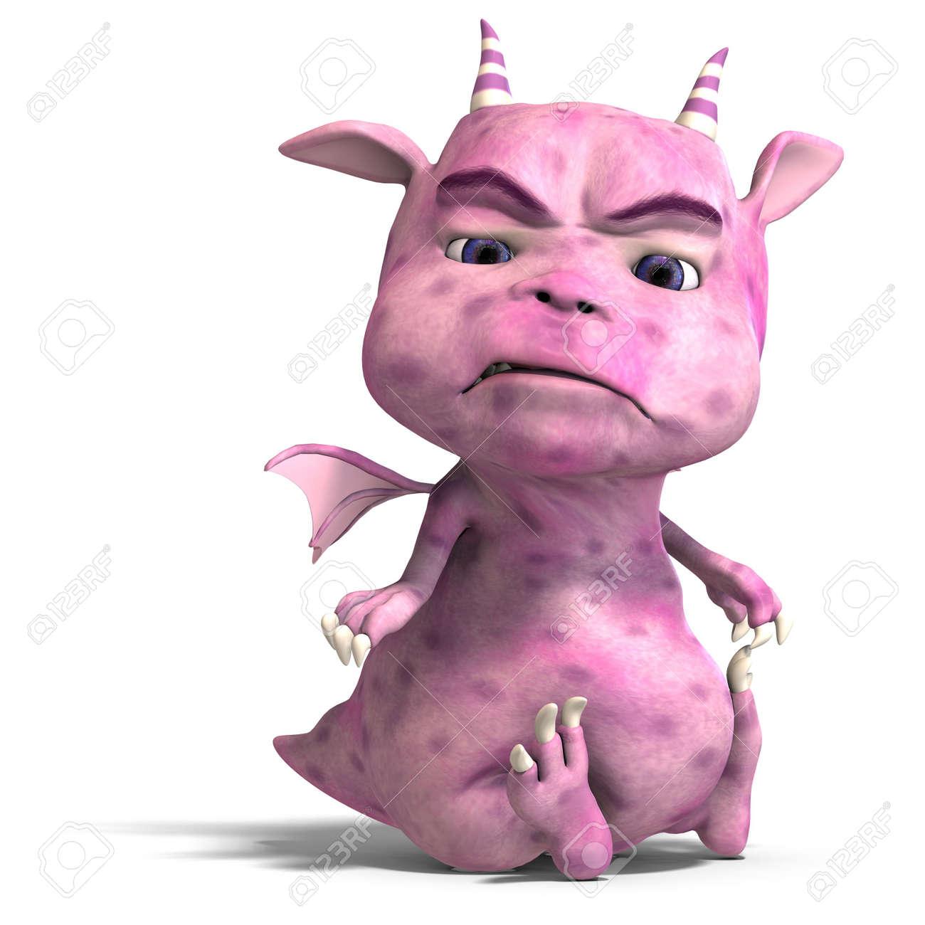 Banque d'images - Rendu 3D d'un peu plus <b>rose mignon</b> toon dragon diable - 5573918-Rendu-3D-d-un-peu-plus-rose-mignon-toon-dragon-diable-Banque-d%27images