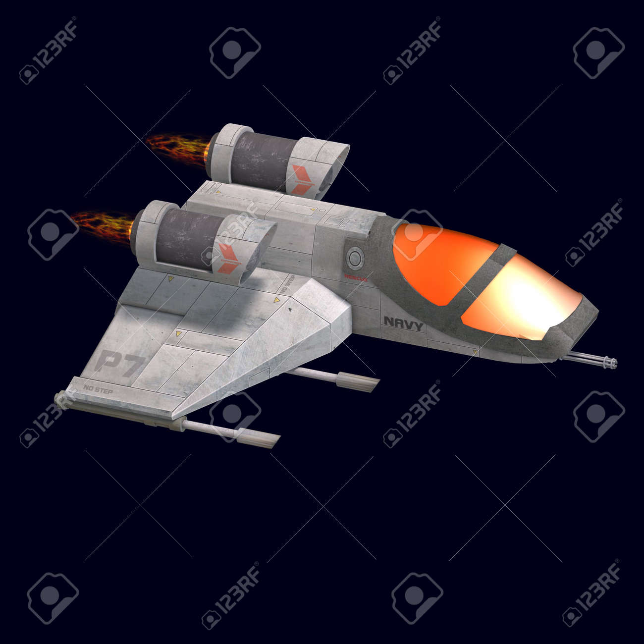 3D rendering of a sci fi spaceship in universe Stock Photo - 5641586