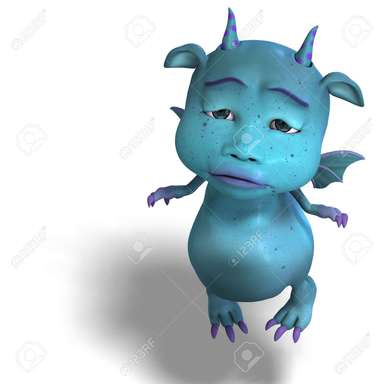 3d rendering of a little blue cute toon dragon devil with clipping