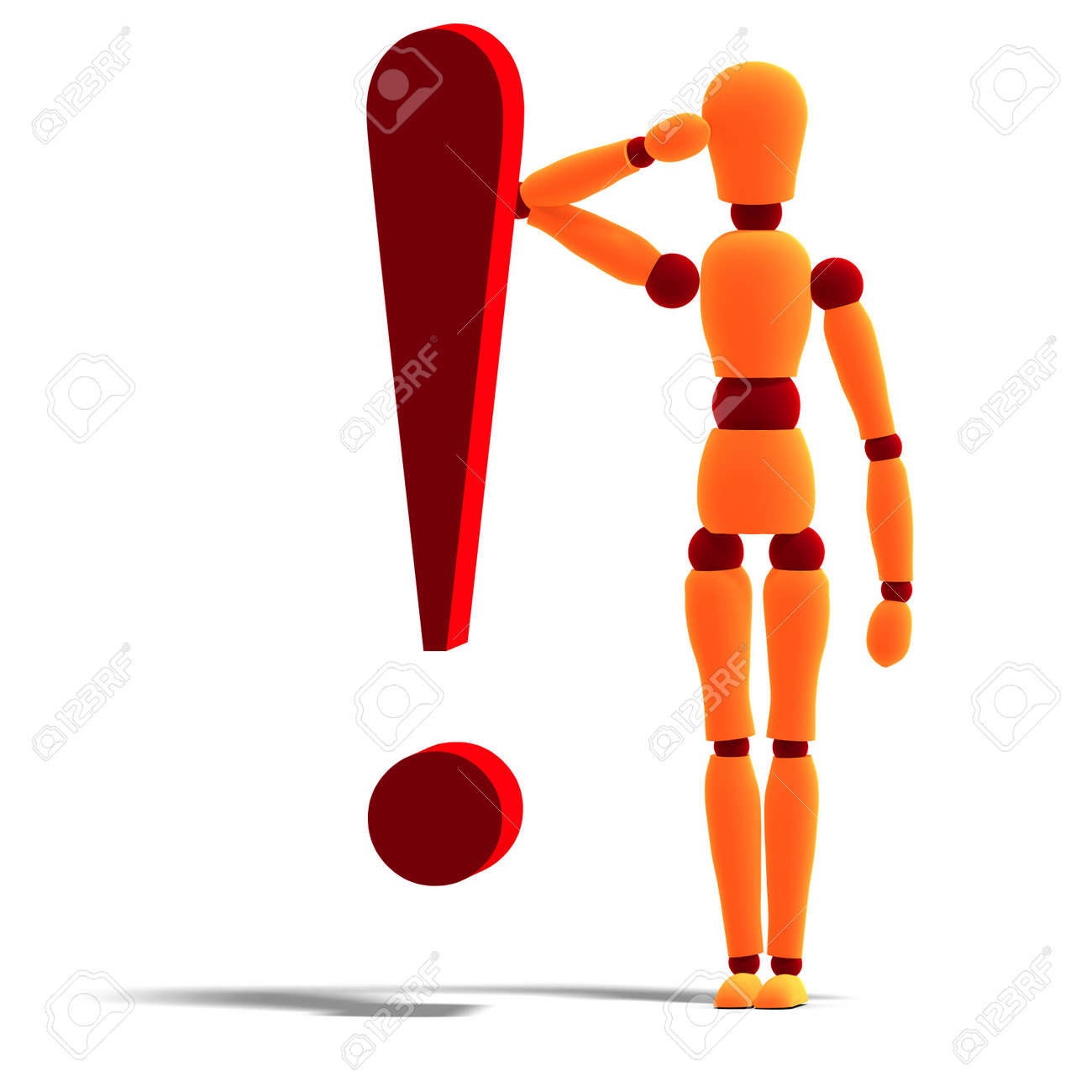 3D rendering of an orange red manikin standing behind an exclamation mark with clipping path and shadow over white Stock Photo - 5690698