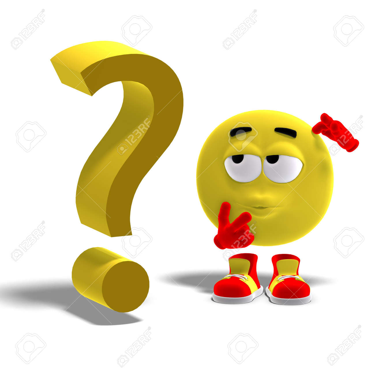 3D rendering of a cool and funny emoticon with a question mark Stock Photo - 5740852