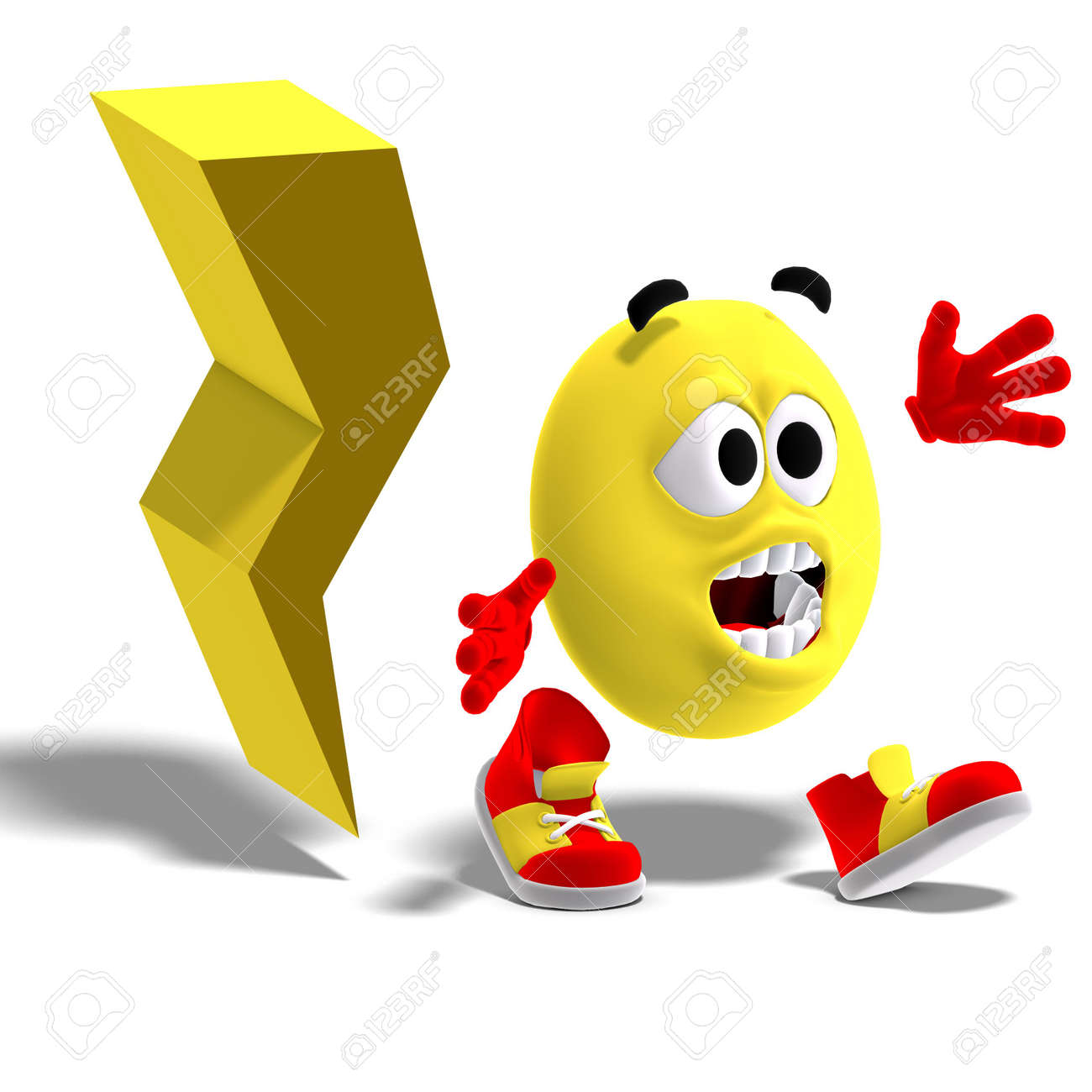 3D rendering of a cool and funny emoticon is running away from a lightning flash Stock Photo - 5740791
