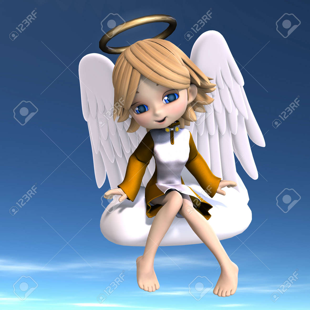 cute cartoon angel with wings and halo. 3D rendering with Stock Photo - 7103434