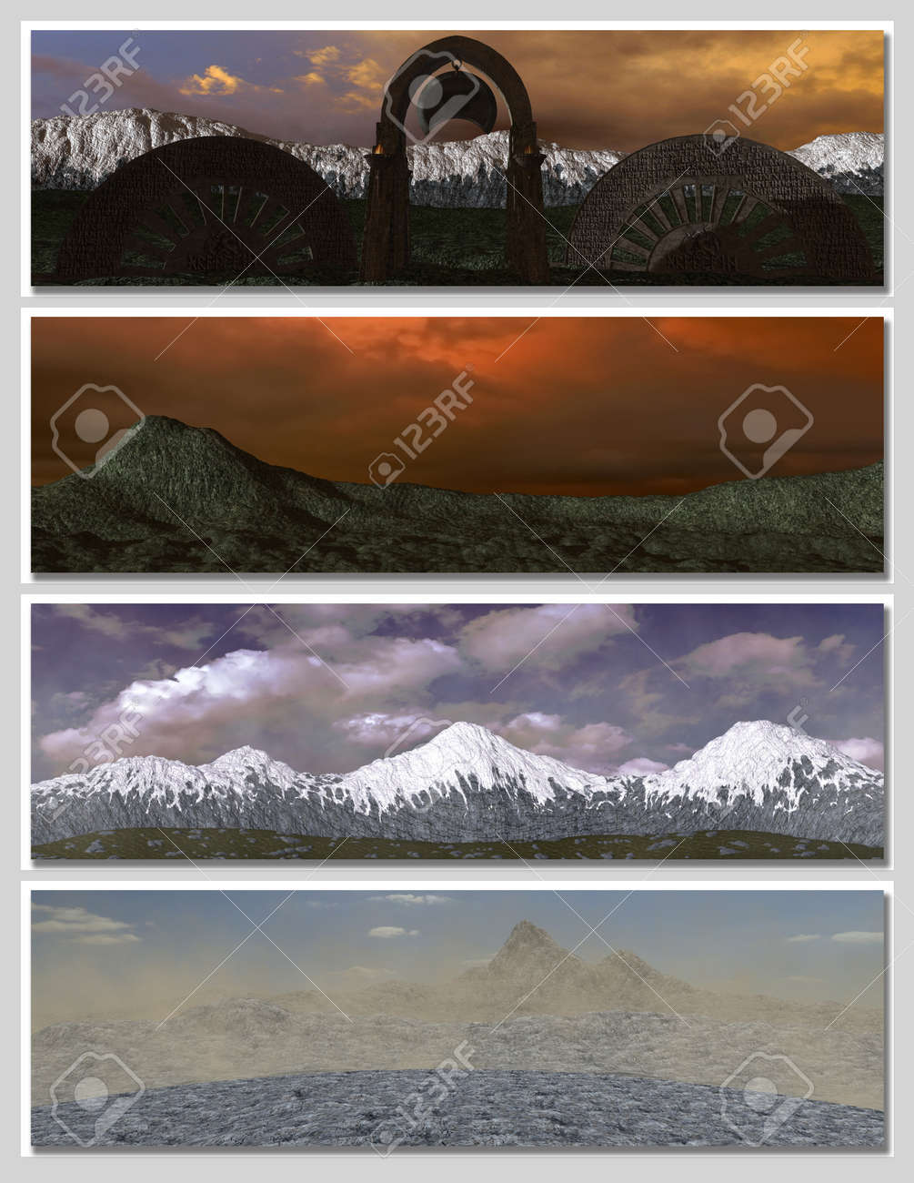 four different fantasy landscapes for banner, background or illustration. with clouds, mountains and sunset Stock Photo - 7219056