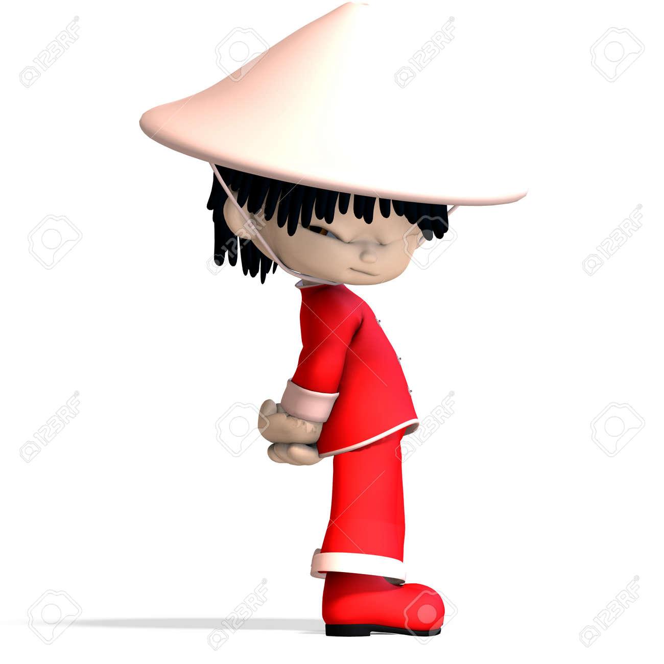 Petit Garçon De Chine De Dessin Animé Est Tellement Mignons Et Drôle