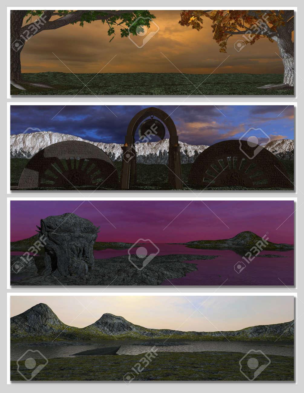 four different fantasy landscapes for banner, background or illustration. 3D rendering Stock Illustration - 7431981