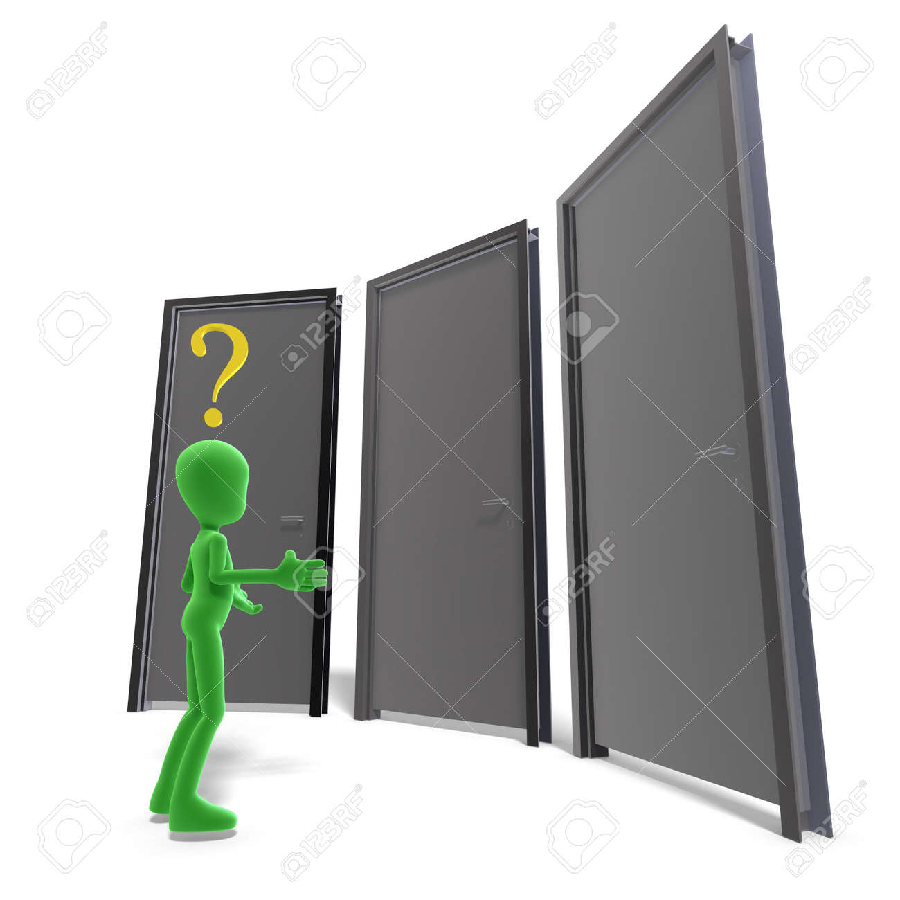 symbolic 3d male toon character don't know which door is the right one. 3D rendering with clipping path and shadow over white Stock Photo - 7431360