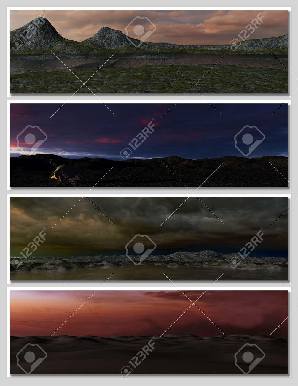 four different fantasy landscapes for banner, background or illustration. Stock Illustration - 7569986