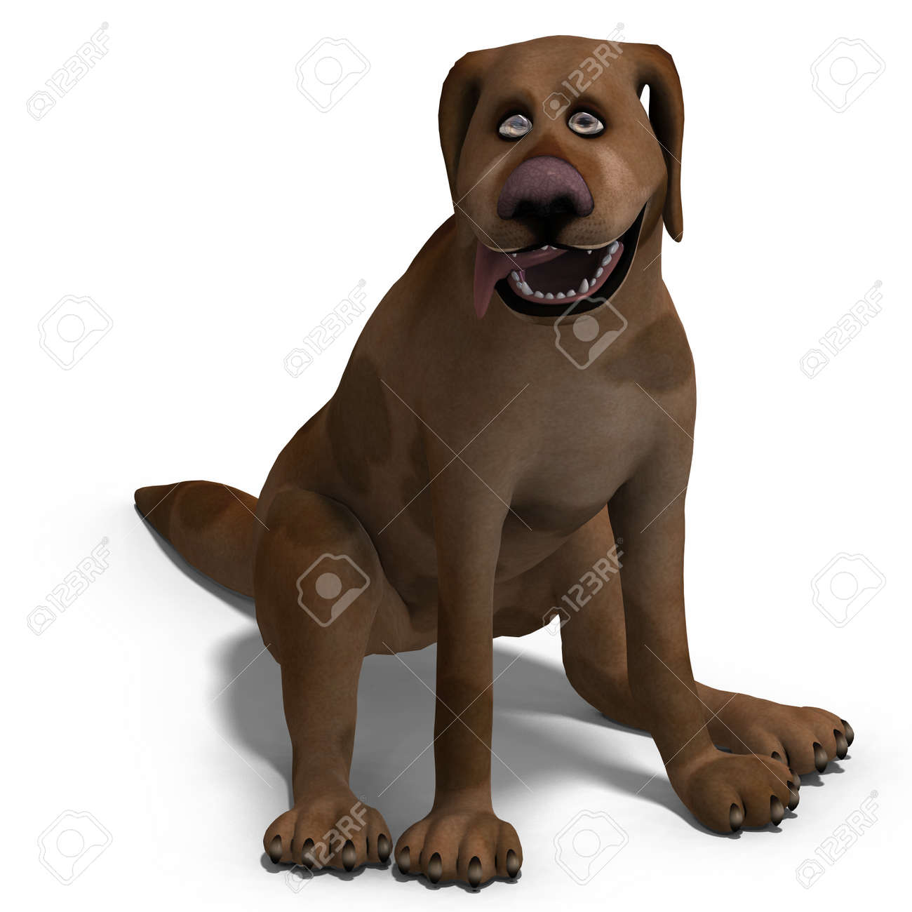 the cute and funny cartoon dog is a bit silly. 3D rendering Stock Photo - 8687000