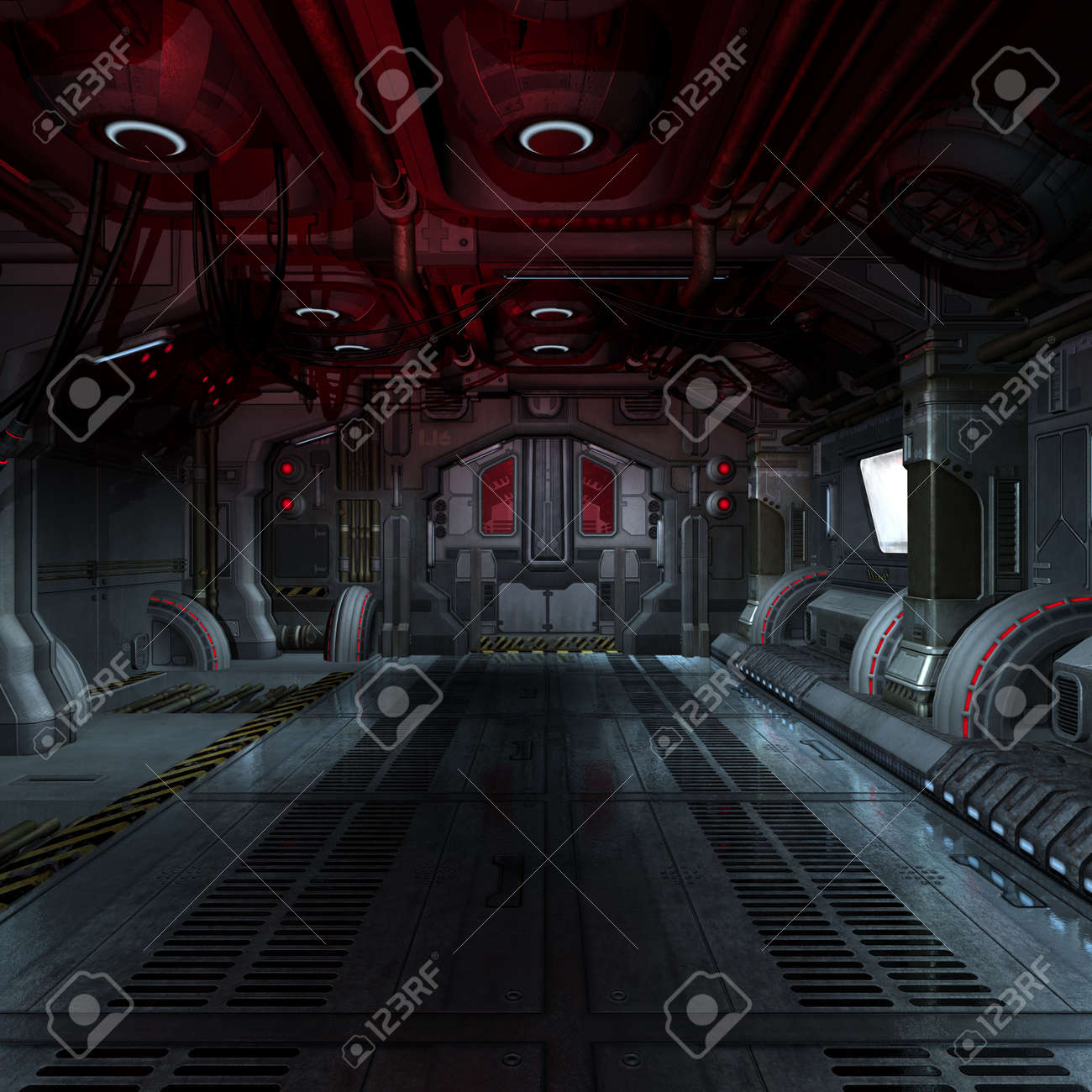 inside a futuristic scifi spaceship 3d rendering for background