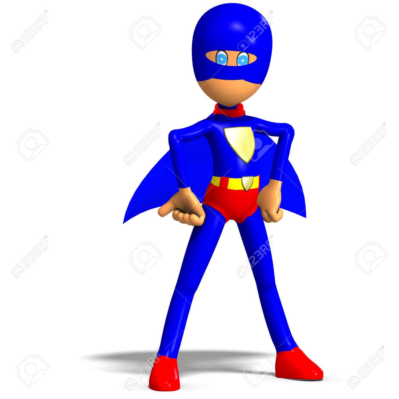 funny cartoon  hero. 3D rendering Stock Photo - 9068931