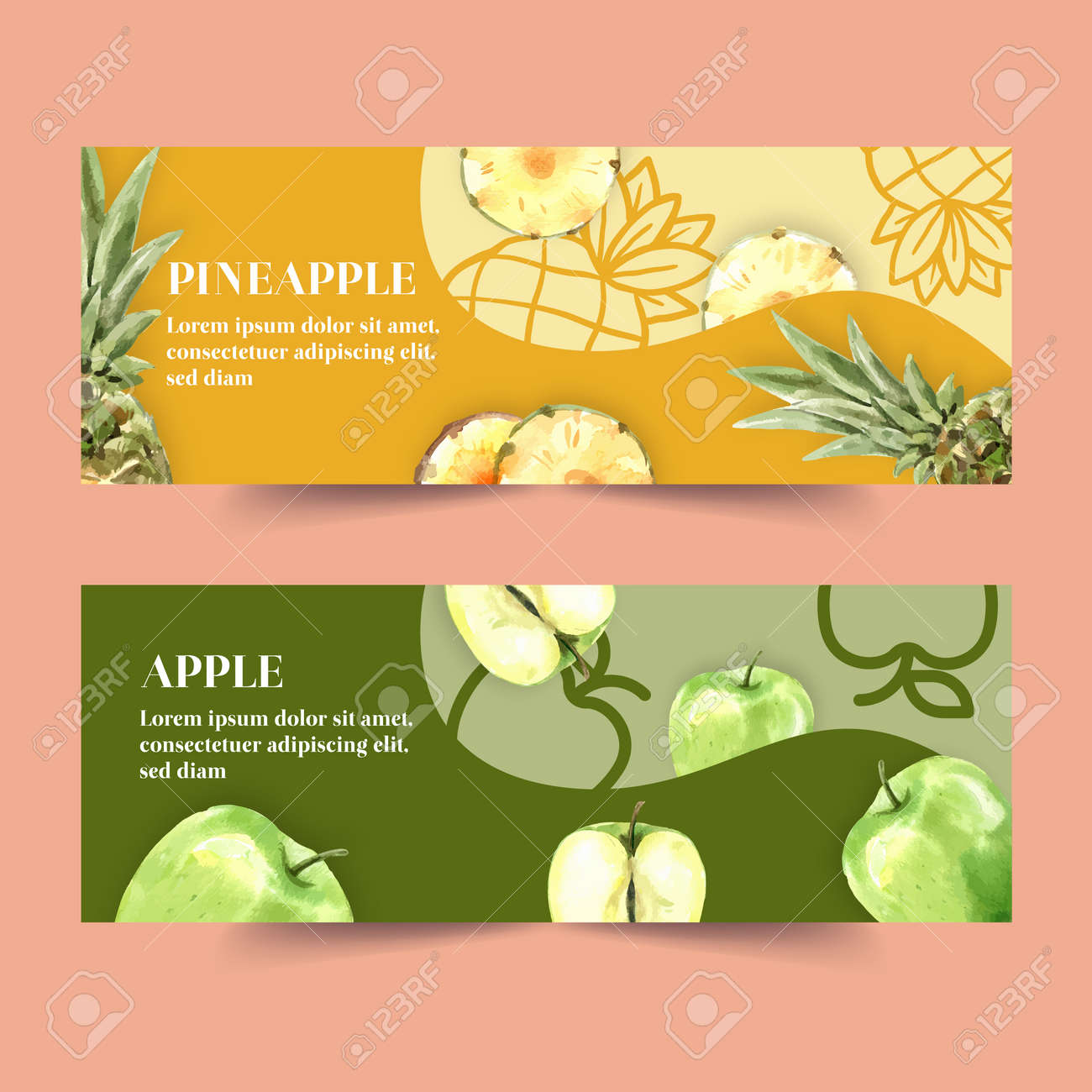 Banner design with Fruits theme, watermelon and apple watercolor vector illustration. - 156753250