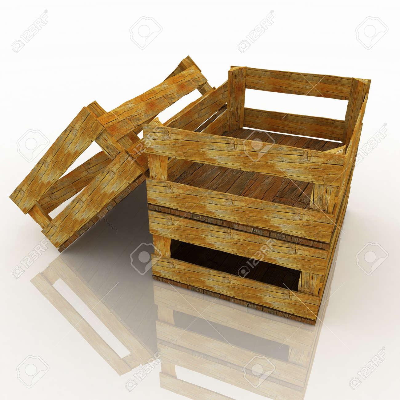 foto de archivo vaciar las cajas de madera para frutas y verduras