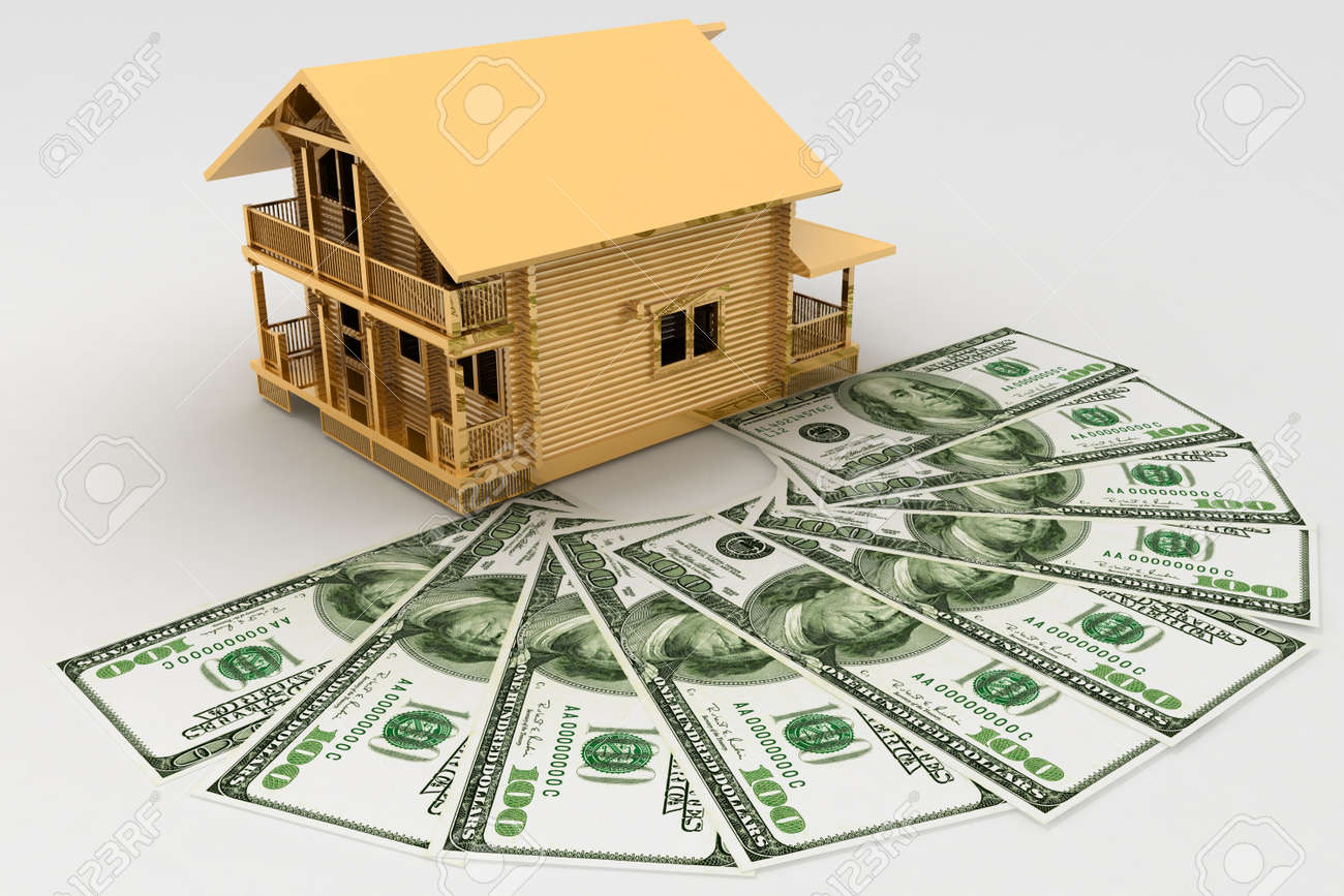 house and dollars on the white background Stock Photo - 11845509