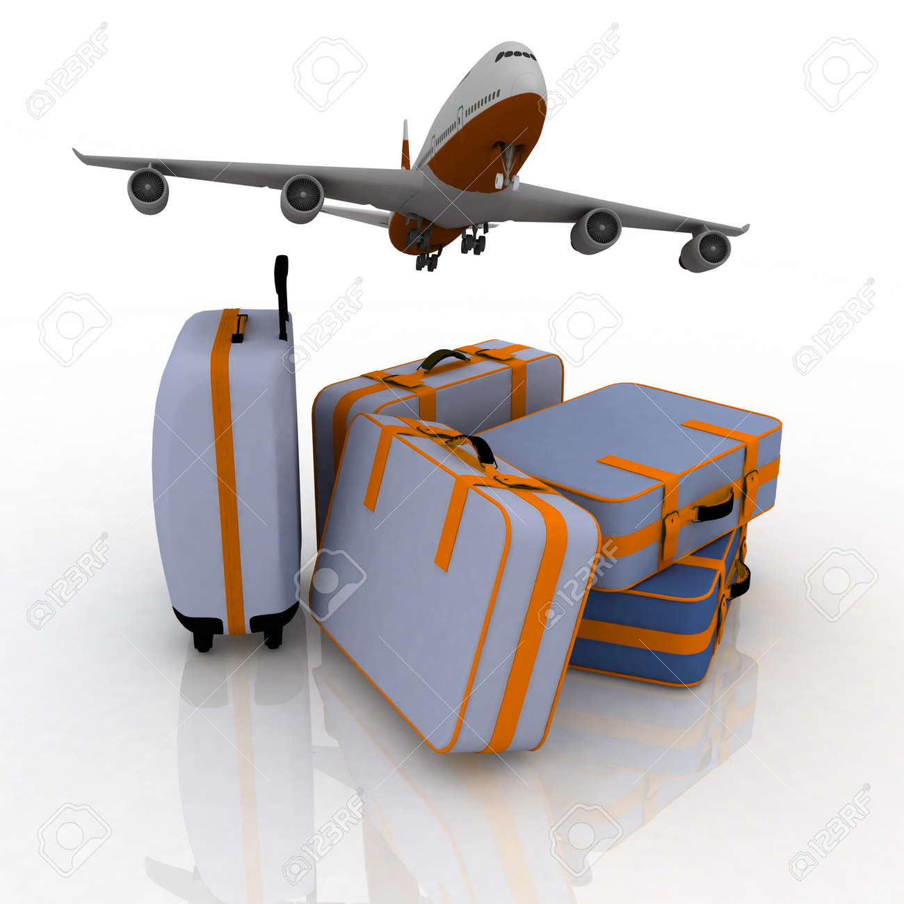 airliner and suitcases on white background Stock Photo - 11845349