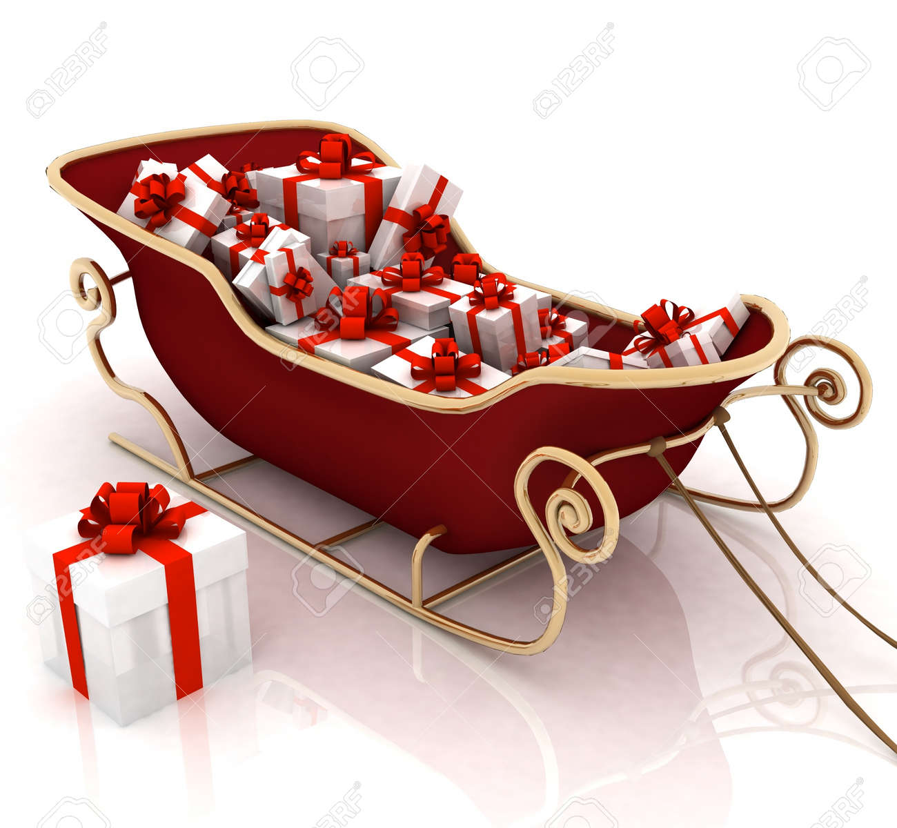 Christmas Santa sledge with gifts on a white background Stock Photo - 11846185