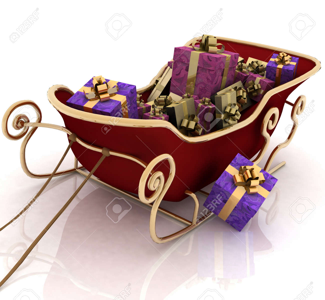 Christmas Santa sledge with gifts on a white background Stock Photo - 11846391