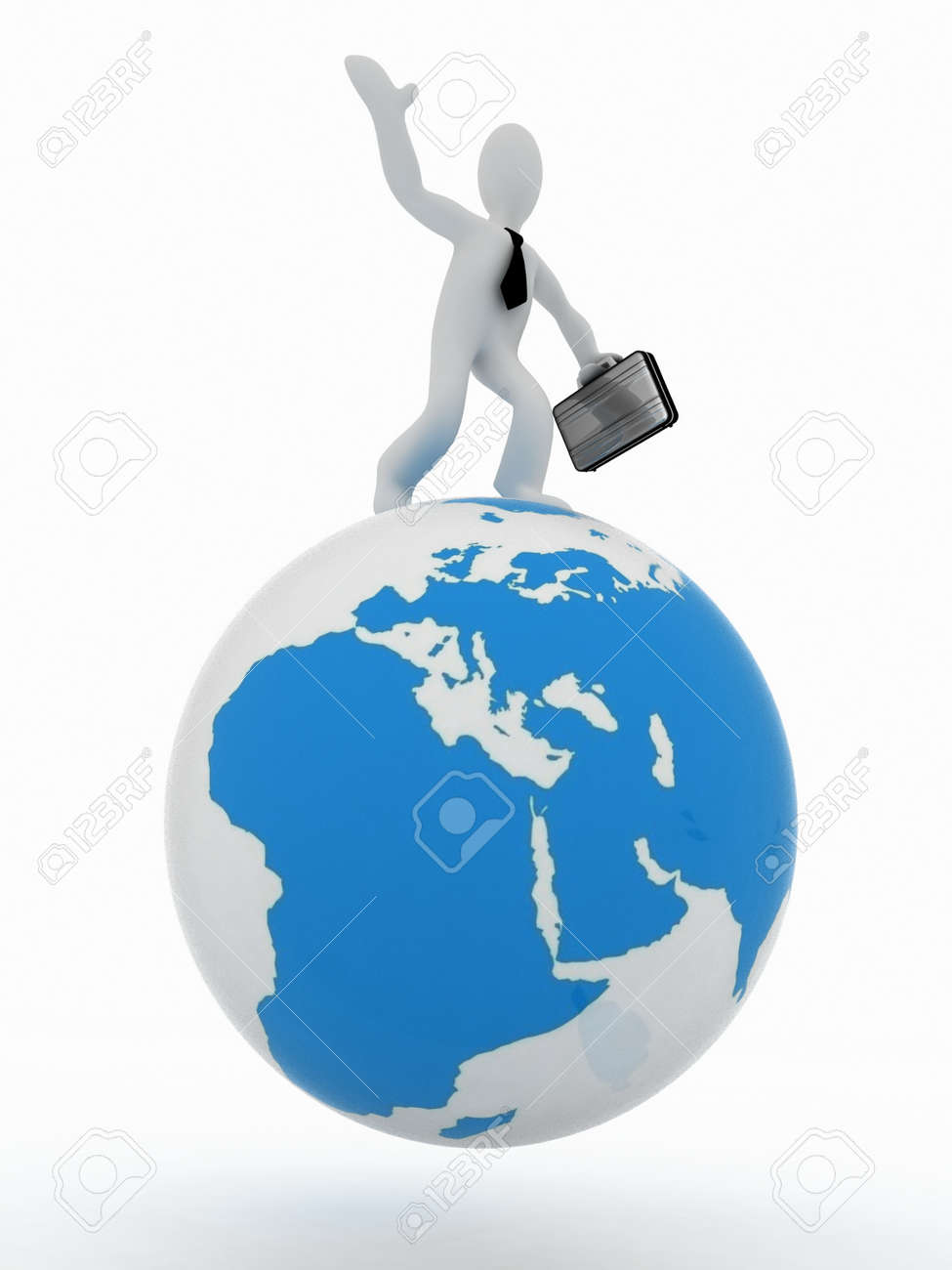 a992ea7d0d52 3D man with a suitcase on top of the globe Stock Photo - 11895741