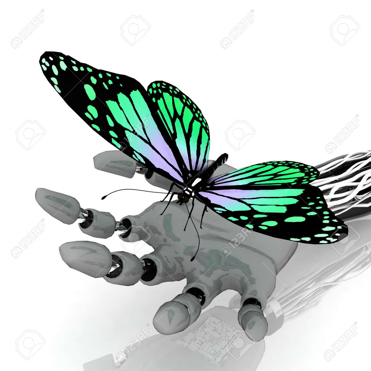 The butterfly on a hand of the robot Stock Photo - 11895576