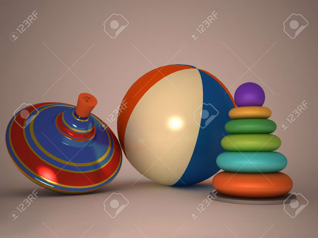 3d child's toys pyramid, top, ball Stock Photo - 11946563