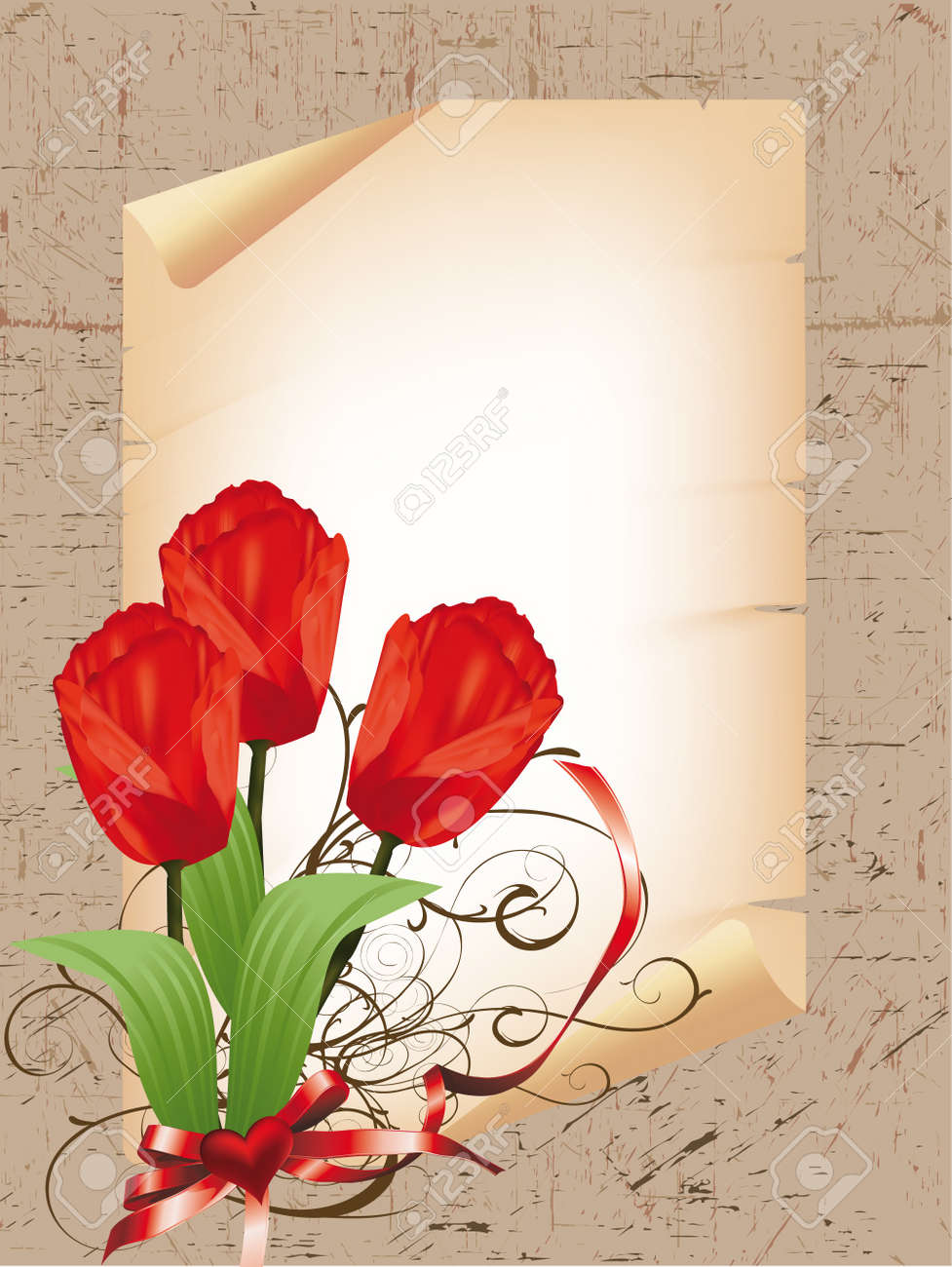 heart frame with a bouquet of red tulips Stock Vector - 11947366