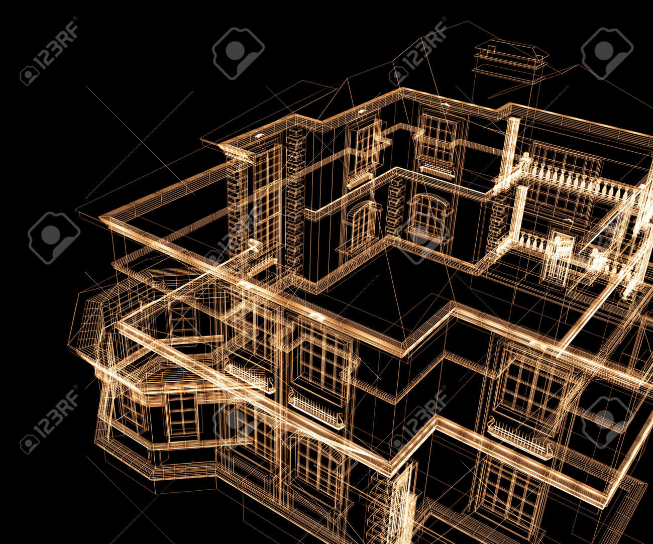 Modern Architecture Drawing 3d modern architecture on a black background stock photo, picture
