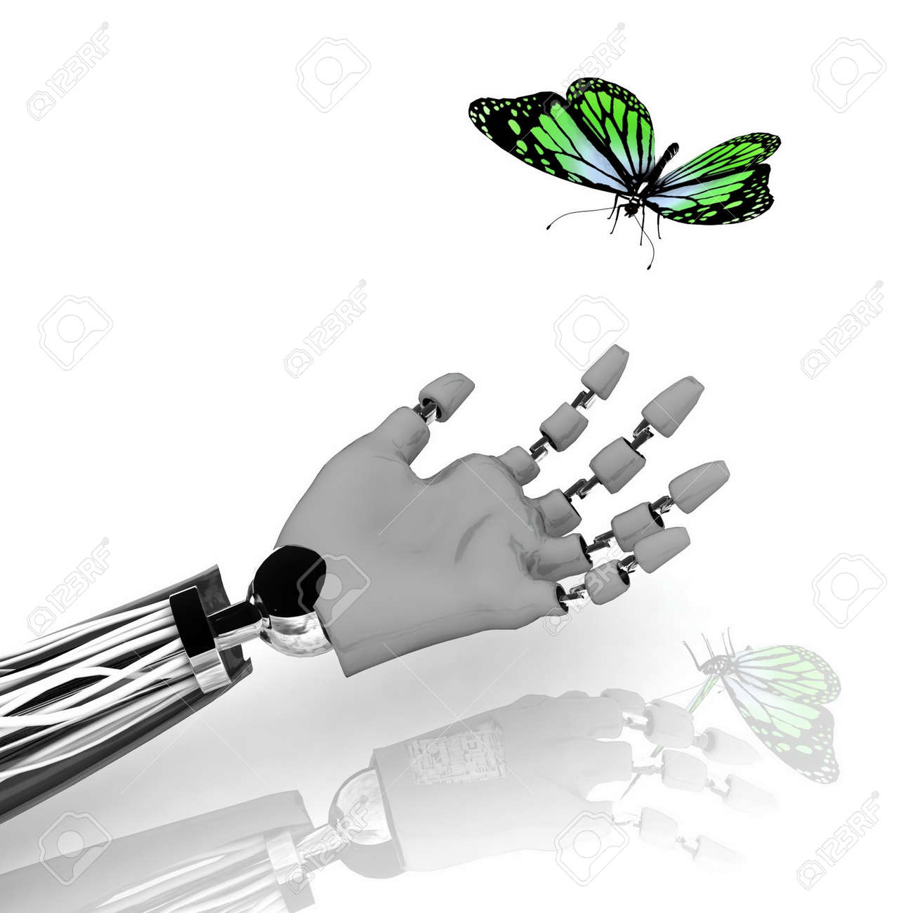 The butterfly on a hand of the robot Stock Photo - 11947613