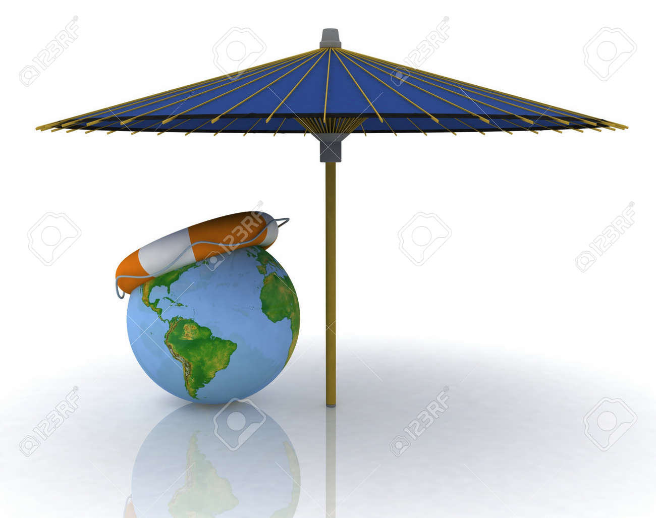 globe, umbrella and lifebuoy, conception of rest on the resorts of the world Stock Photo - 11985349