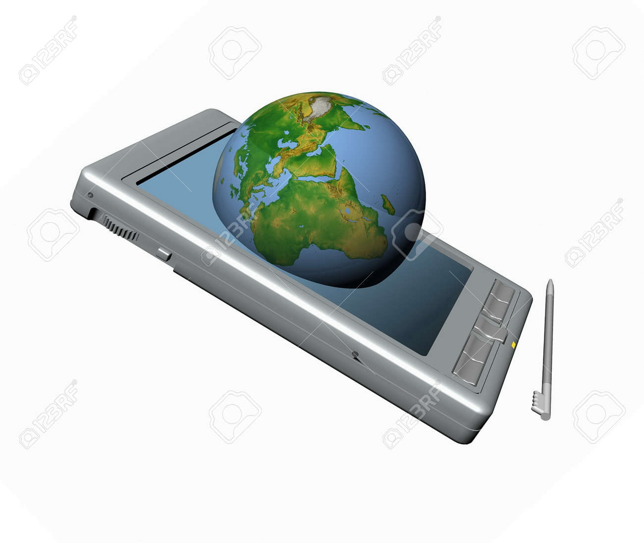 pocket pc and blue globe a white background. Stock Photo - 11984409